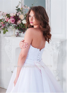 Image 2 - Elegant Tulle Sweetehart Neckline Ball Gown Bridal Dresses With Lace Appliques & Beadings & Belt Wedding Gowns