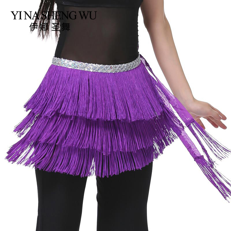 The New Three Layer Tassels Waist Chain Belly Dance Waist Chain Belly Dance Hip Towel Tassel Belt Belly Dance Practice Hip Scarf