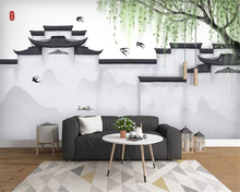 beibehang Custom classic silky papel de parede 3d wallpaper Nordic minimalistic abstract ink art urban architecture background