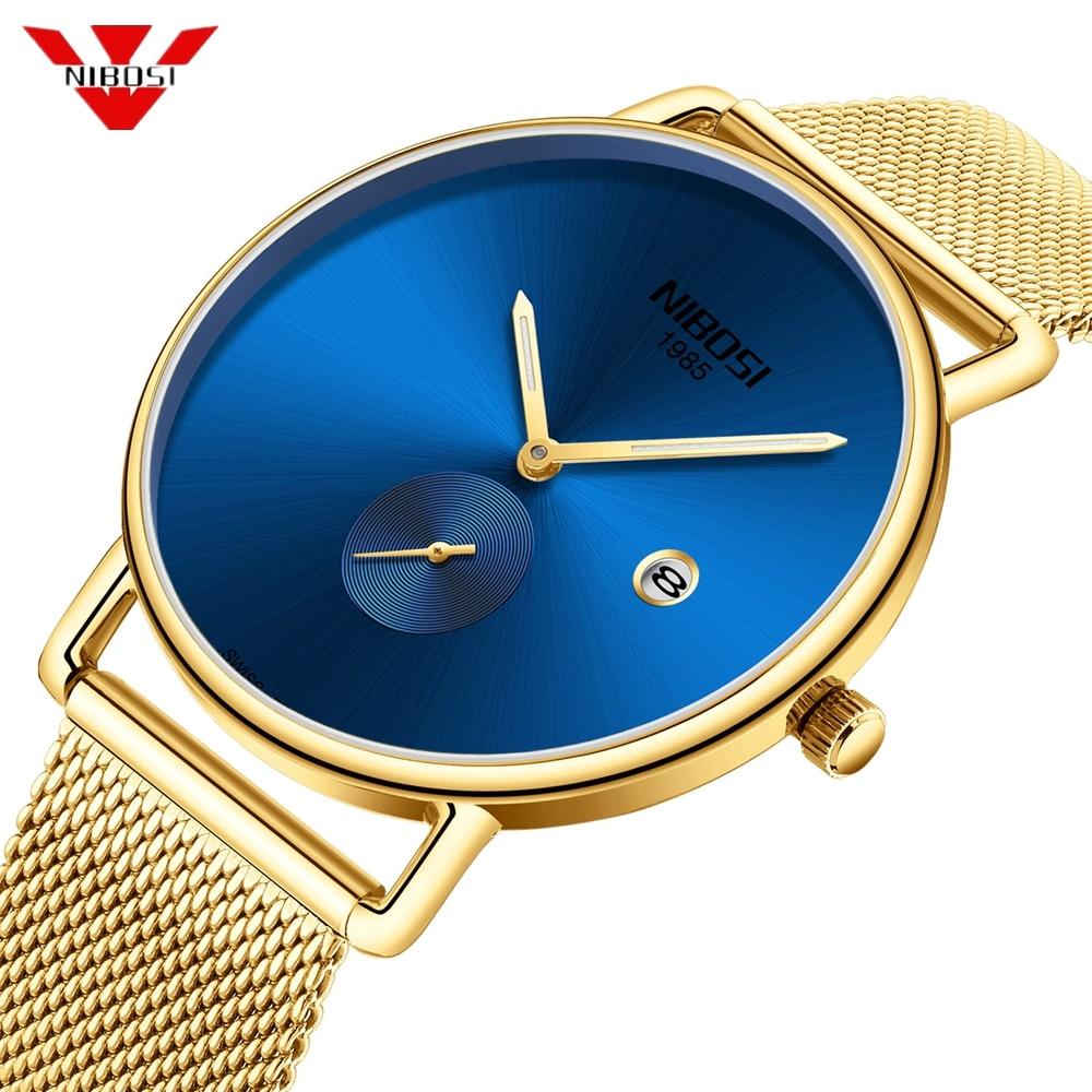 NIBOSI Simple Blue Gold Men Watch Mesh Military Watch 30m Waterproof Wristwatch Quartz Thin Sport Watch Male Relogios Masculino