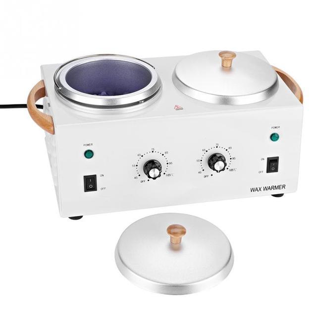 Sıcak Parafin ağda ısıtıcı Salon Spa Çift Pot Tüy Dökücü Ağda Isıtıcı Makinesi 220 V