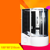 Household Bathroom Shower Room High quality Tempered Glass Integrated Steam Shower Room With Bathtub 110V/220V 12W 150x90x215CM