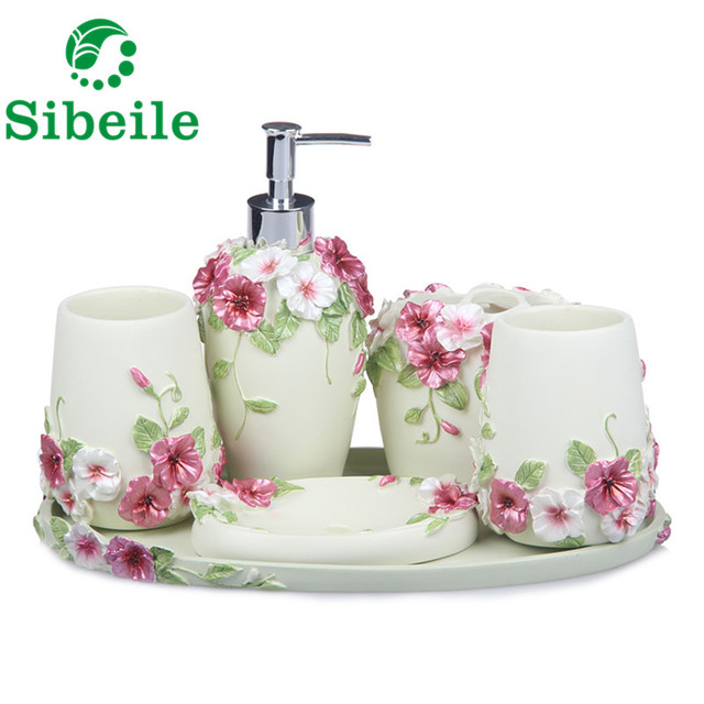Sble Pearl Floral 5pcs Resin Bathroom Accessories Set Soap Dispenser