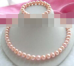 Free shipping .656 Genuine Natural 10mm Pink Pearl Necklace Bracelet Set