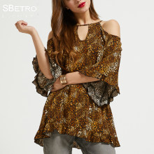 80deb37cc2 SBetro By Suzanne Betro Leopard Print Blouses Shirts Keyhole Neck Cold  Shoulder 3 4 Bell Sleeve Ladies Tunic Tops Women s Blouse