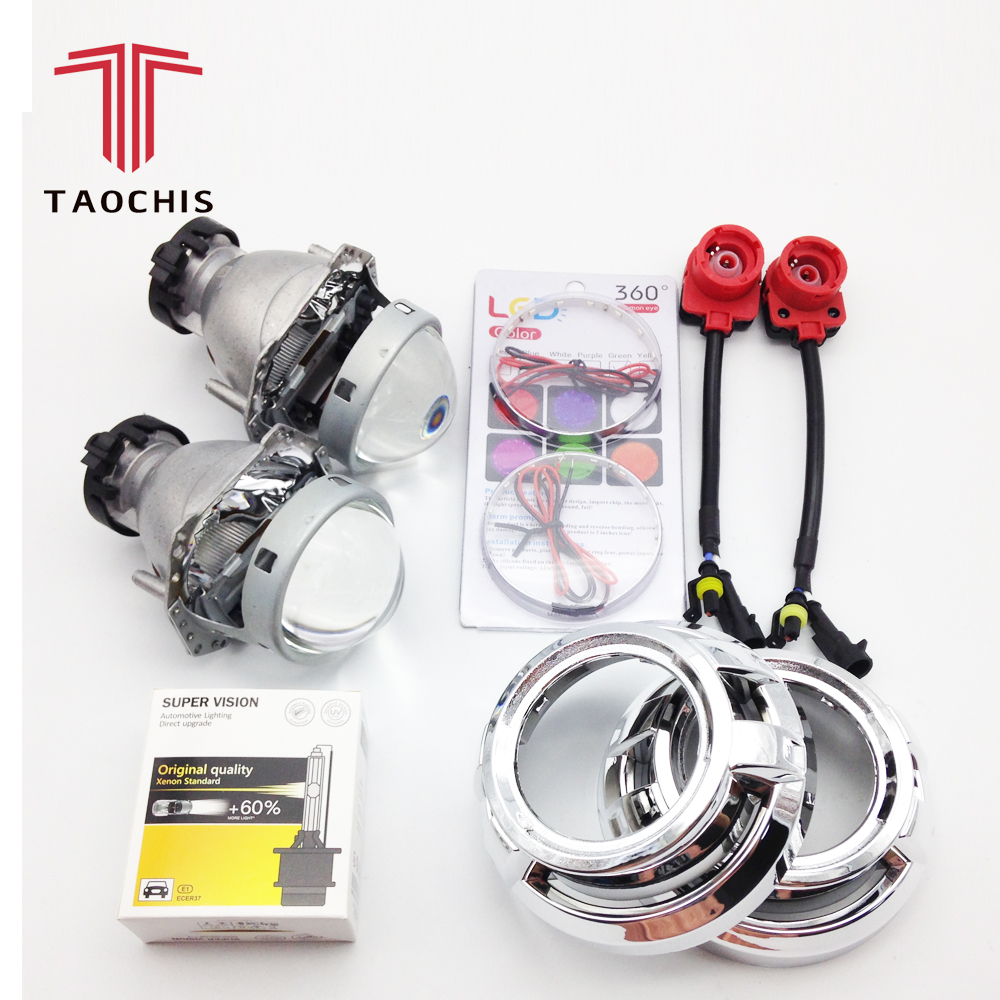 TAOCHIS Hella 3R G5 Projector Lens Kit HID Bi xenon D2S D1S D3S D4S With Shroud Devil Eyes Modify Head Light Lamp Upgrade upgrade auto car headlight 3 0 inch hid bi xenon for hella 3r g5 5 projector lens replace headlamp retrofit d1s d2s d3s d4s