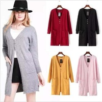 Women 3 Buttons Pockets Solid Loose Sweater 6 Colors Crochet Knit Casual Blouse Long Cardigan Sweater