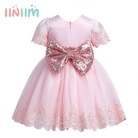 Infantil Baby Girls Embroidered With Big Sequined Bowknot Formal Dress Princess 1st Birthday Party First Prom