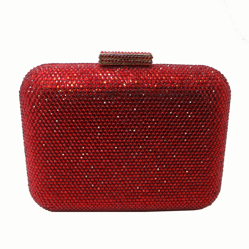 Royal Nightingales Hard Box Clutch Crystals Evening Bags and Handbags with Chains Red Silver Black Purple