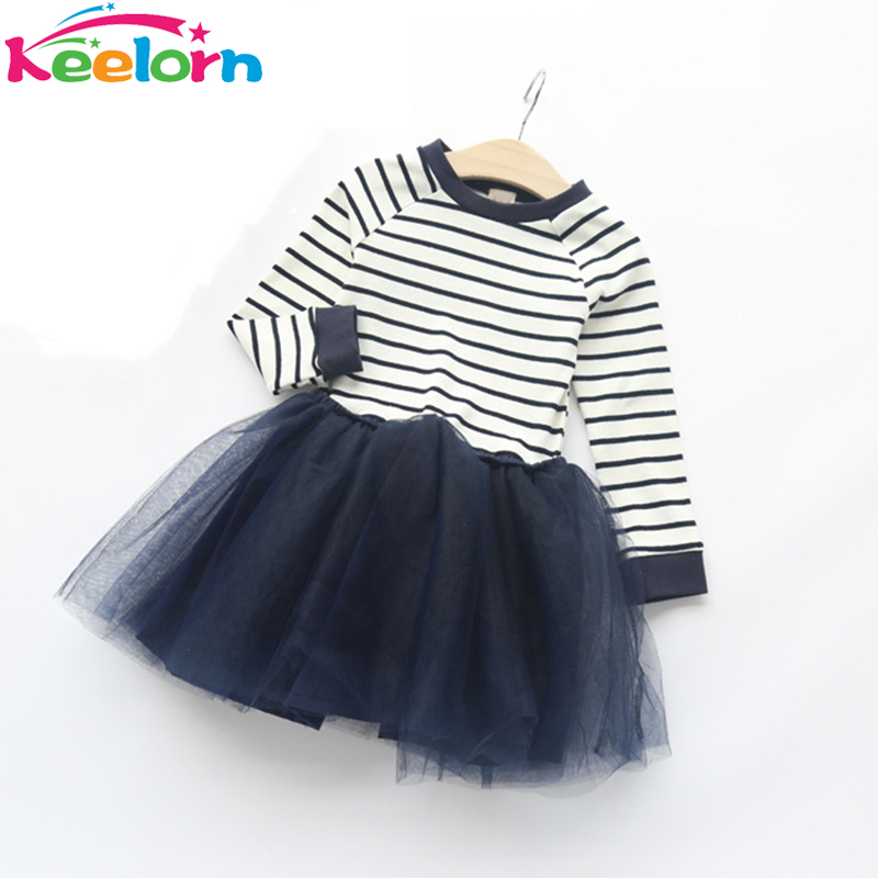 Keelorn Autumn Girls Dress 2017 New Casual Style Girls Clothes Long Sleeve Striped Mesh Design Dress for Kids Clothes 3-7Y girls dress autumn new 2018 casual