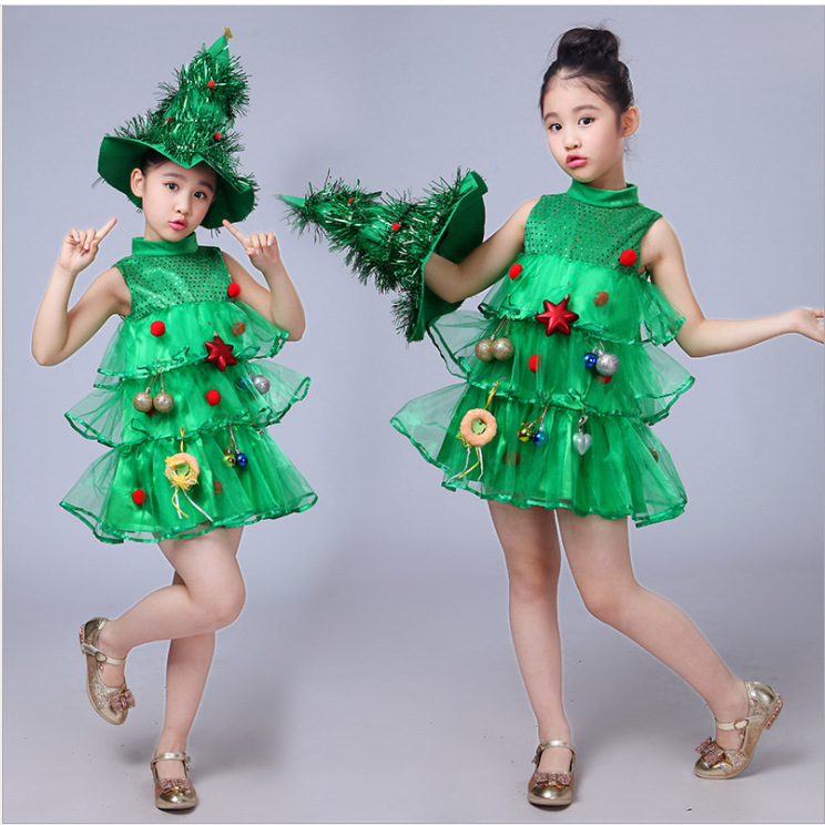 Baby Girl Sleeveless Dresses Children Green Clothes Christmas Halloween Costumes Tree Dress Hat Purim Elf Cosplay