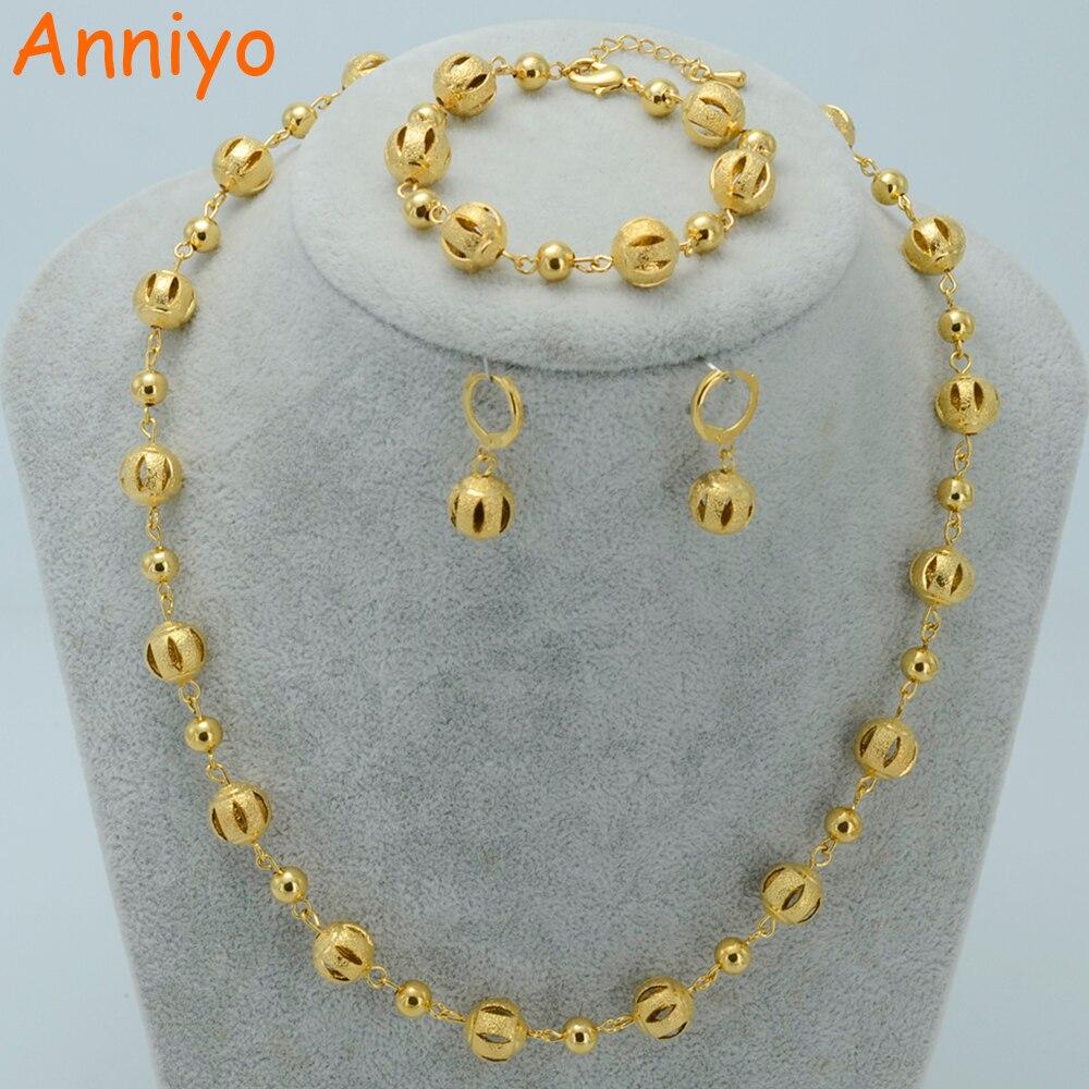 Anniyo Perlen Schmuck Sets Ball Halsketten Ohrringe Armband Gold Farbe Perlen Frauen Arabischen Schmuck Afrika Äthiopischen #020606
