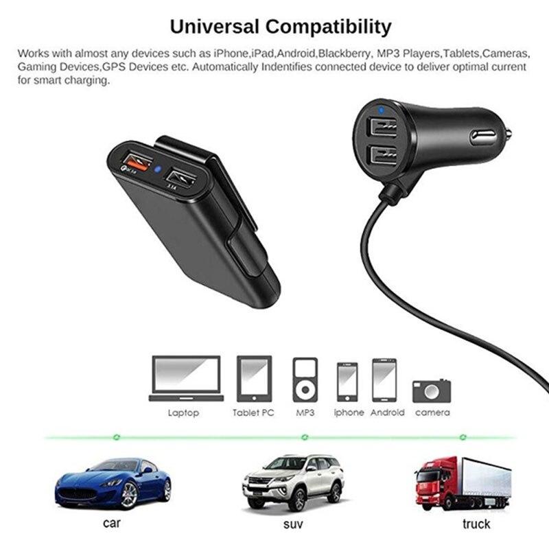 Vehemo 4 порта USB автомобиль зарядка зарядное устройство планшеты задний зажим смартфоны авто зарядное устройство 2 переднее сиденье USB сиденья