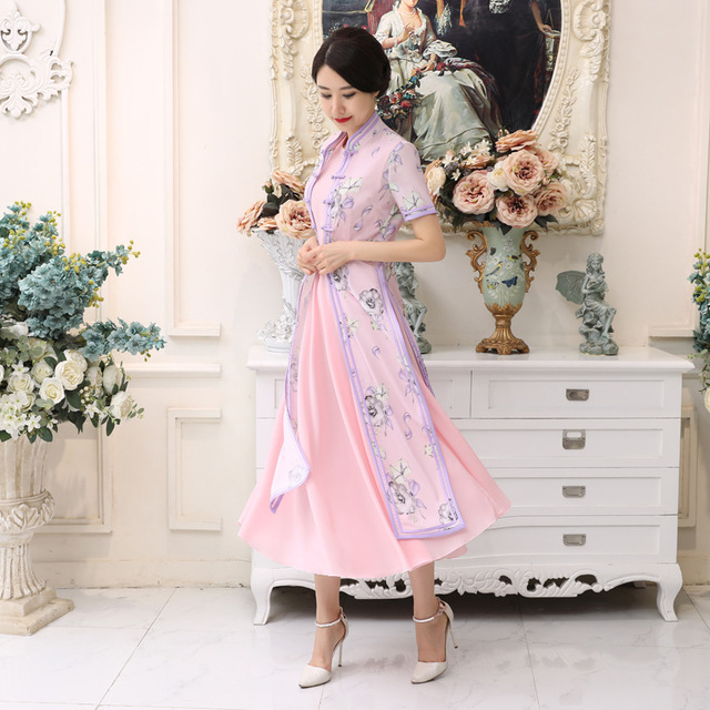 Summer New Hot Sale Pink Satin Vietnam Ao Dai Dress Chinese National  Cheongsam Short Sleeve Sexy Print Long Dress S-3XL AD5 b4448980d102