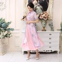 Summer New Hot Sale Pink Satin Vietnam Ao Dai Dress Chinese National Cheongsam Short Sleeve Sexy Print Long Dress S 3XL AD5