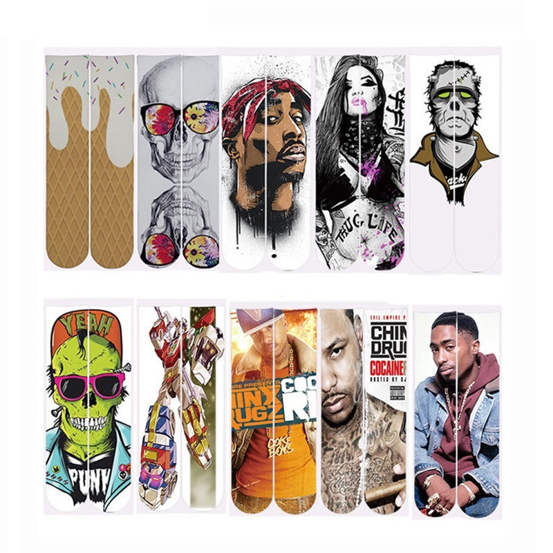 Mens Hip Hop Style Sock 3d Socks Tupac 2pac/Skull Printing Funny Socks Dropshipping