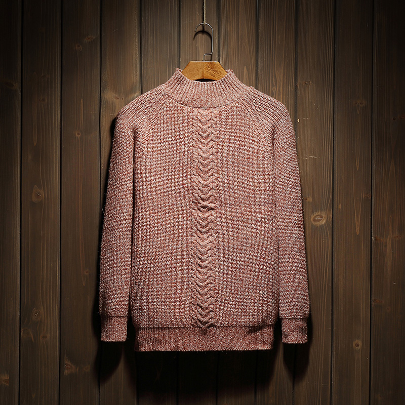 Solid thick winter mens turtleneck sweater slim korean young mens casual sweater warm sw ...