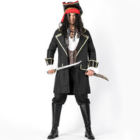 Halloween Carnival Costume Cosplay JACK Captain Male Pirate Costume Male Pirate Bandit Stage Dress Black Uniform