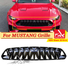 Fits For Ford Mustang grill grille ABS gloss black 1:1 Replacement For Mustang Front Bumper Kidney Racing Grills Car-Styling 18+ aps f75349h black powder coated grille replacement for select ford expedition models