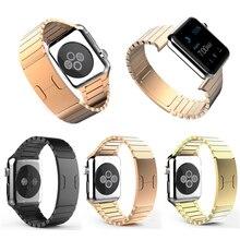 Роскошные нержавеющей стали замена часы браслет оркестр ссылка с двойным кнопка застежка для Apple , часы 38 мм 42 мм