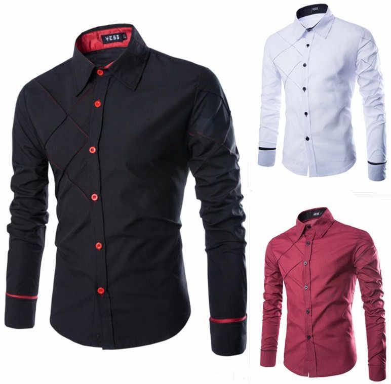 Клетчатая стильная повседневная мужская рубашка в стиле пэчворк, приталенное платье, рубашка с длинными рукавами и отложным воротником Camisa Masculina