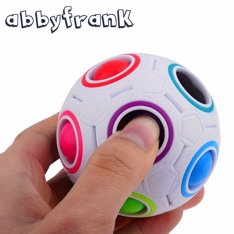 Abbyfrank Funny Rainbow Ball Puzzle Magic Cube Football Spherical Speed Cube Novelty Magic Cube Puzzle Educational Toy For Adult
