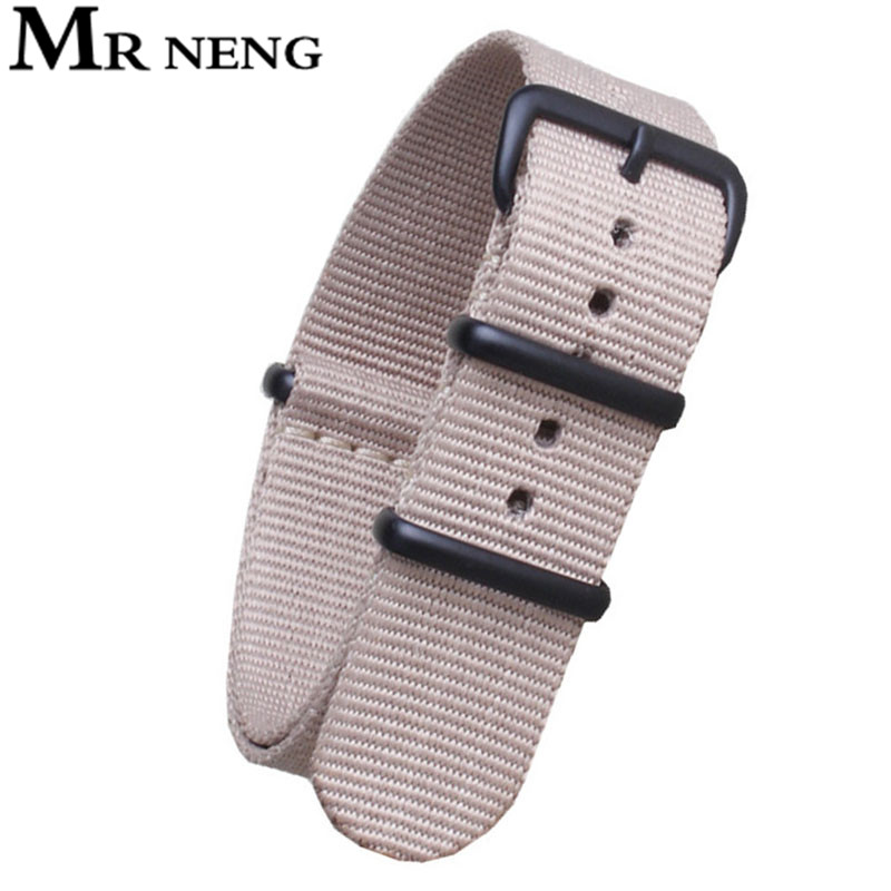 MR NENG Newest Beige Color Watchband 20mm 22mm 24mm Nato Nylon Watch Band Strap Black Silver Buckle mr neng brand high quality nato nylon for zulu green watch band straps with stainless steel black silver buckles 20mm 22mm 24mm