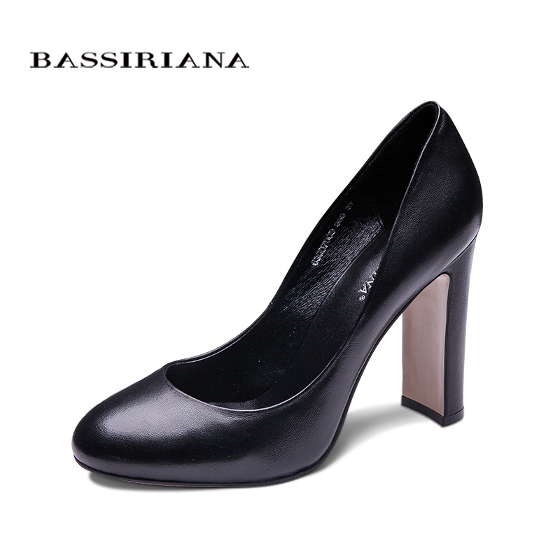 BASSIRIANA classic pumps high heels shoes woman Genuine leather Big size 35-40 Round toe Balck spring autumn Free shipping siketu free shipping spring and autumn high heels shoes career sex women shoes wedding shoes patent leather style pumps g017