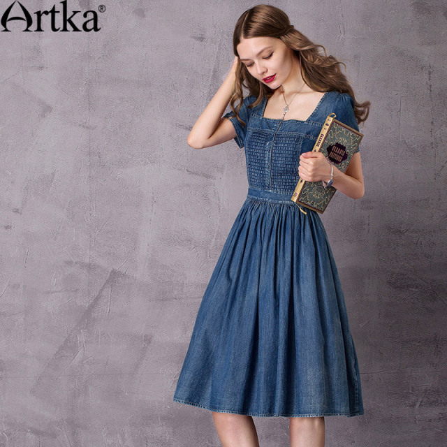 Artka Women's 2017 Autumn Vintage Draped Denim Dress Fashion Square Collar Short Sleeve Empire Waist Pleated Dress LN10278C