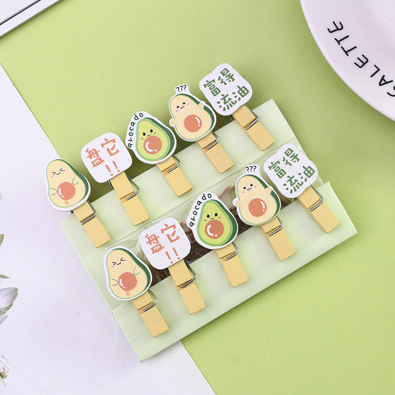 10 Pcs/Set Creative Lovely Avocado Wooden Clip Photo Clips Party Decoration Clip With Hemp Rope
