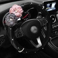 Pearl Diamond Rose Flower Car Steering Wheel Cover Leather Rhinestone Covered Steering Wheel Covers Women Accessories