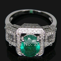 Jewelry Sets Vintage Oval 7x9mm Solid 14kt White Gold Diamond Engagement Emerald Ring SR0071
