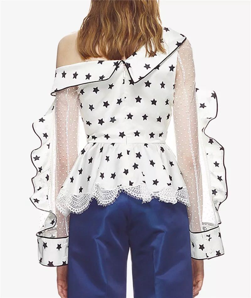 2018 Summer Women Long Sleeve Lace Chiffon Blouses Self Portrait Ladies One Shoulder Satin Printed Star Sexy Tops
