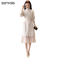 2018 Spring and Autumn New Korean High Quality Women Dress Long Sleeve Round Neck Long dresses Elegant Lace dress