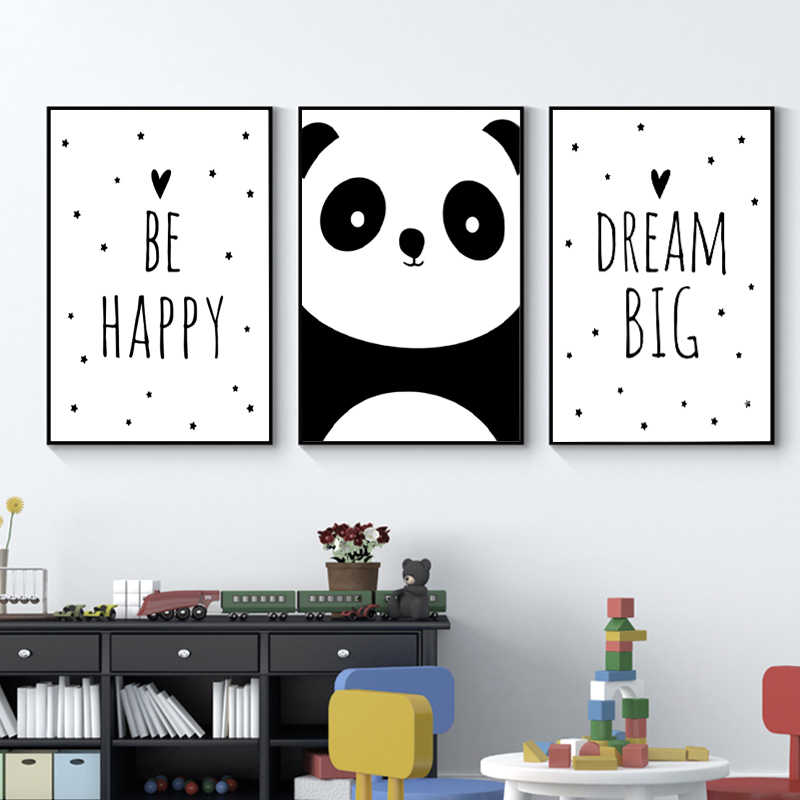 Baby Nursery Wall Art Canvas Painting Animal Panda Be Happy Poster and Prints Nordic Kids Decoration Picture Bedroom Decor