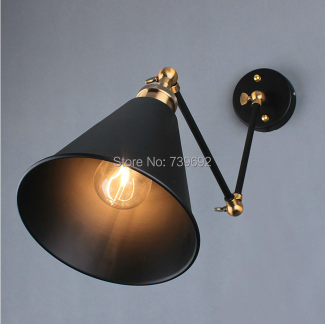 aliexpresscom buy retro two swing arm wall lamp for bedroom bedside adjustable wall mount swing arm lamp with gold steering head from reliable lamp crown