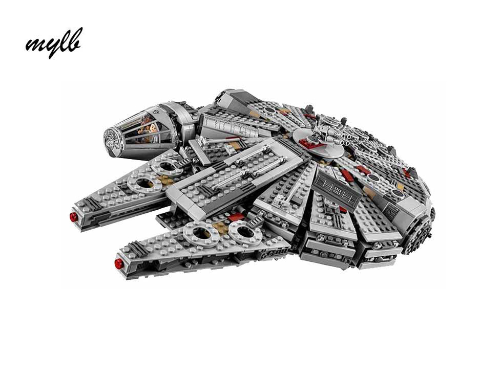 mylb Star Wars Millennium Falcon Outer Space Space Ship Building Blocks Model Toys Christmas Gift for Children Compatible 2015 high quality spaceship building blocks compatible with lego star war ship fighter scale model bricks toys christmas gift