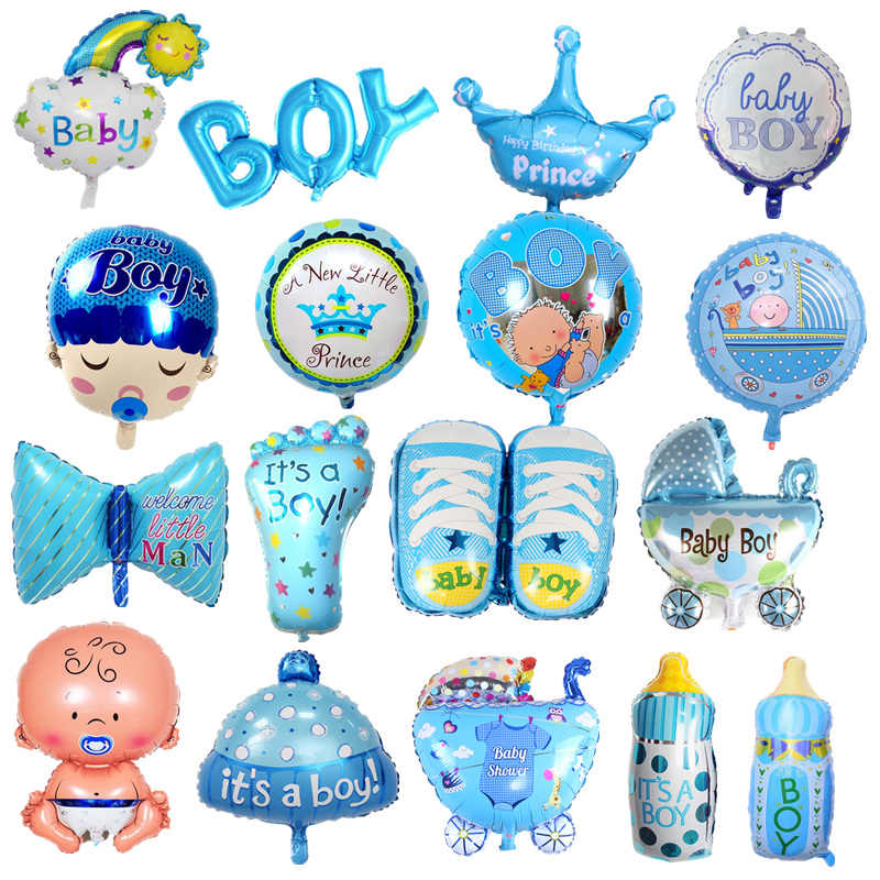 1pc Cartoon Baby Boy Girl Air Balloons Baby Feet Bottle Stroller Crown Foil Balloons For Children's Day Baby Shower Decorations