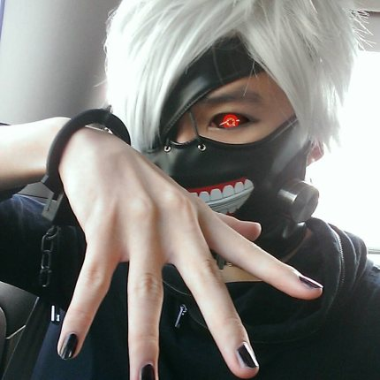 Men Short Cosplay Wigs Anime Tokyo Ghoul Anime Ken Kaneki Synthetic Hair Wigs Black White Leather Mask Party Peruca Pelucas Wig Curly Mask Collagenmask Foot Aliexpress