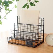 Nordic wrought iron magazine rack storage desktop office file multi-layer simple desk metal book