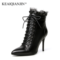 KEAIQIANJIN Woman Pointed Toe Boots Black Yellow Plus Size 33 43 High Heel Boots Autumn Winter