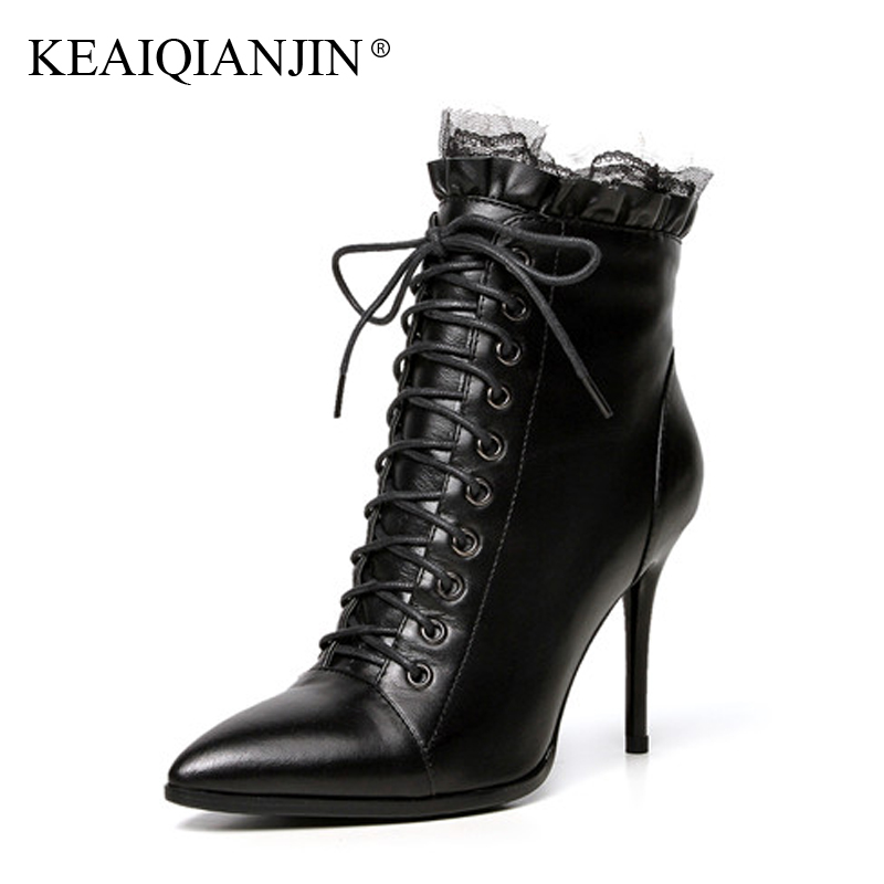 KEAIQIANJIN Woman Pointed Toe Boots Black Yellow Plus Size 33 - 43 High Heel Boots Autumn Winter Genuine Leather Ankle Boots keaiqianjin woman rivet motorcycle boots autumn winter bottine plus size 33 43 shoes black red genuine leather ankle boots