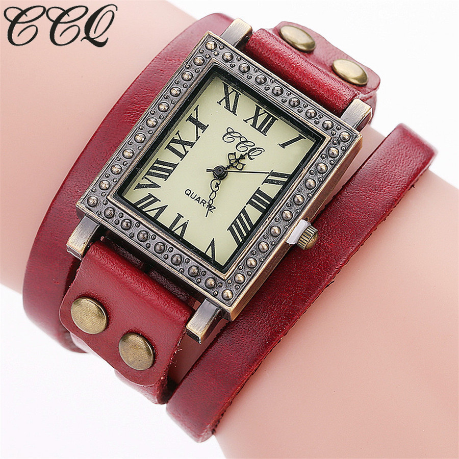 CCQ marca de moda de la vendimia Cuero auténtico pulsera reloj casual mujeres  reloj estilo punky reloj de cuarzo Relogio feminino C98 9a8e7452ddde