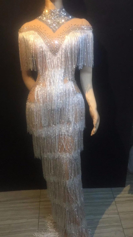Mode strass franges robe femmes soirée anniversaire célébrer gland robe discothèque scène femmes chanteuse danseuse longue robe