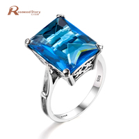 New Arrival Ethnic Crystal Blue Stone Rings Set For Women Antique 925 Sterling Silver Midi Finger