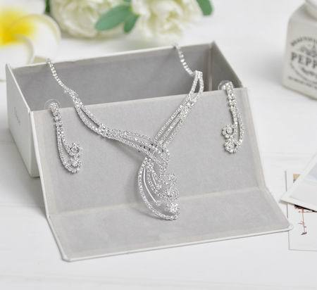 Celebrity Inspired Crystal Tennis Statement Necklace Set Earrings Silver Color Wedding Bridal Bridesmaid Jewelry Sets