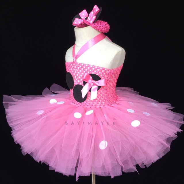 52aff73ba30ee5 € 8.12 10% de réduction Belle bébé rose Tutu robe bébé 2 couches Crochet  Tulle robe avec des points blancs et bandeau enfants Cosplay dessin ...