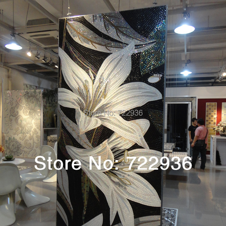 Flower Oil Painting Customized Hand Cut Crystal Mosaic Wall Tile Puzzle  Glass Tile Mural Senior ... Part 49