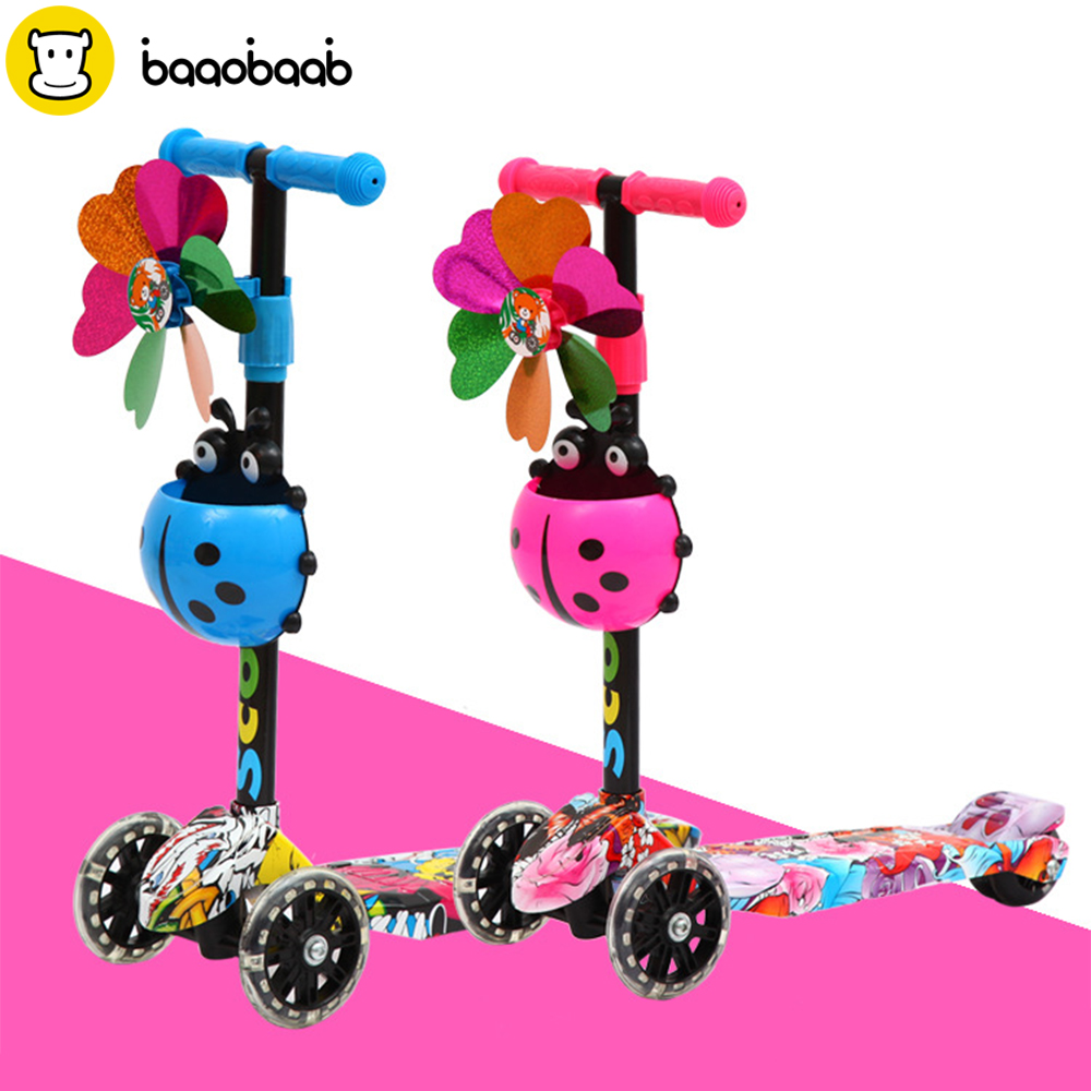 Baaobaab HBC1 Four Wheels Baby Children Balance Bike Scooter Flash Wheel Walker 2-5 Years Scooter Foot Pedal New Riding Toys new children three wheel balance car scooter foldable no foot pedal child swing car twist car baby walker tricycle riding toys