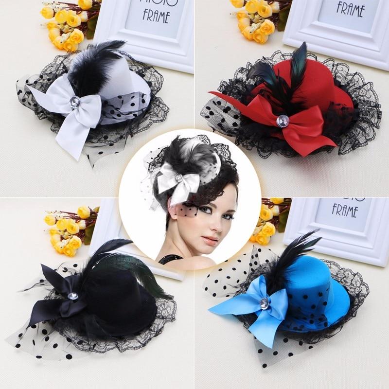 Fashion Jewelry 5x femmes Parti Strass Decor Plume Noire Rouge Chapeau Mini Haut Cheveux Cli R9